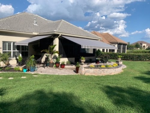Retractable awnings in The Villages Florida.